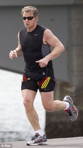 Men who turn into mid life fitness fanatics may actually be HARMING     The right recipe  MAMIL Gordon Ramsay on a run