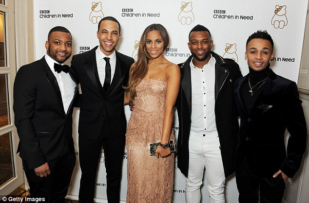 I'm with the band: Rochelle and Marvin are joined by his JLS bandmates Jonathan 'JB' Gill, Oritse and Aston Merrygold