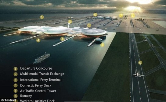 Soaring ambition: An artist's impression of the £47.3bn London Britannia Airport, which would be built on an artificial island in the Thames Estuary