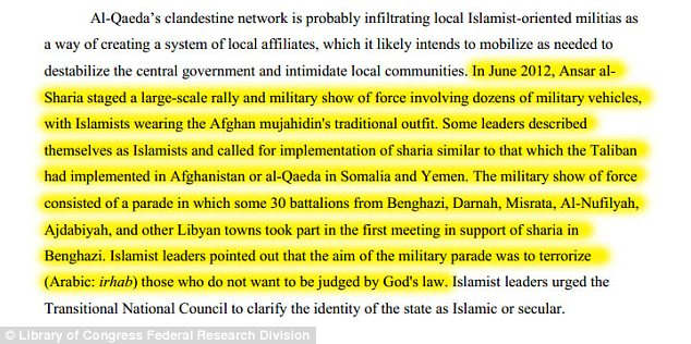 The Library of Congress report, prepared for a Defense Department intelligence subagency, described the June Benghazi rally in detail, saying it involved 'battalions' of jihadis from several Libyan cities