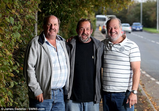 Kevin (left), Rex (centre) and Bruce Wilton (right) have been reunited after 43 years apart.