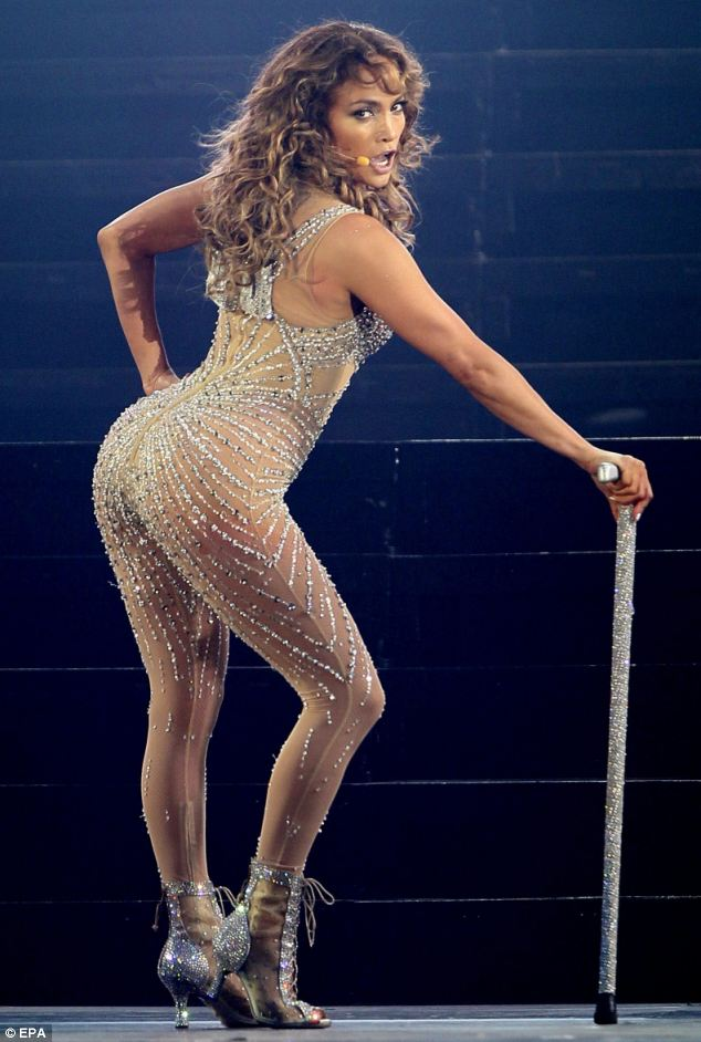Shapely: While small bums were once all the rage, celebrities like Jennifer Lopez are now admired for their curves
