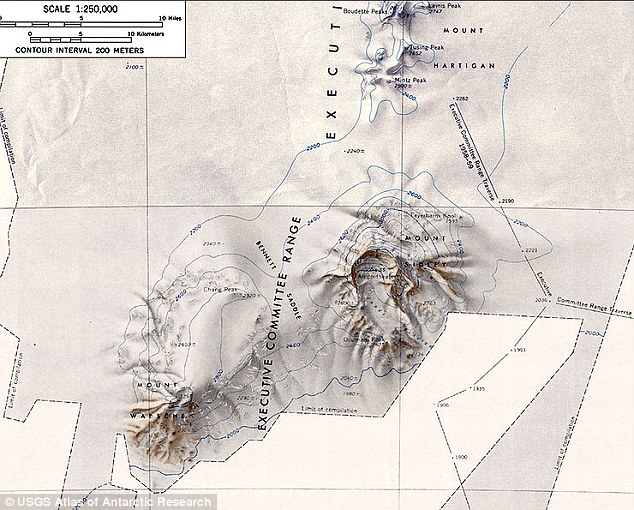The new volcano was found buried around a kilometre beneath an ice sheet in West Antarctica, close to the Executive Committee Range of mountains, pictured.