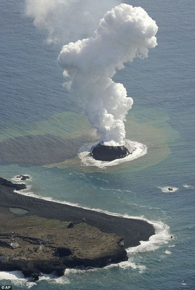Smoke billows from a new islet off the coast of Nishino Shima, a small, uninhabited island in the Ogasawara chain off the coats of Tokyo. At that point, it was around 600ft in diameter