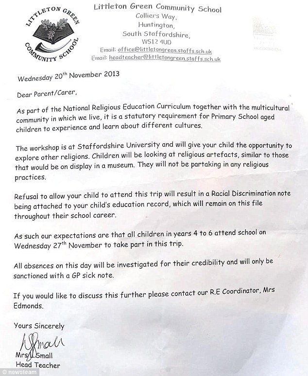 The letter: Parents were sent a letter which threatened to brand their children 'racist' if they didn't go
