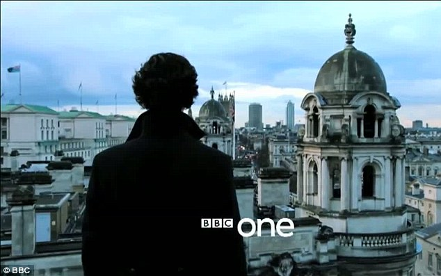 Scene of the crime: Sherlock is seen standing at the scene of his dramatic fall, which viewers saw at the end of series two