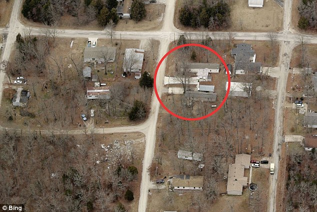 Rough: Circled is the Branson, Missouri property that Louise Harrison calls home - the proud Liverpudlian - who has lived in American for over 50-years says she wants nothing from the family of her famous brother