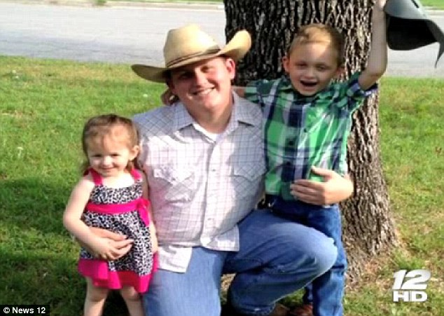 Ron Alford with his daughter Makayla and son Hunter - he is a police officer in Gainsville and struggling to get his children the health care they have been insured for their entire lives