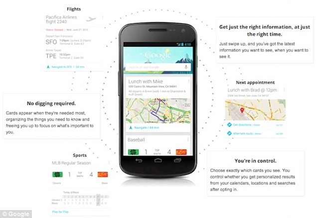Google Now, pictured, uses what's called 'predictive analytics' to guess what its users want.