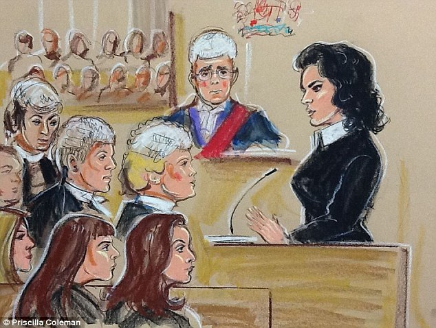 Testimony: Nigella Lawson, dressed all in black apart from a white collar, is seen in court addressing the jury in this court illustration. The Grillo sisters, who are standing trial charged with fraud, can be seen front left