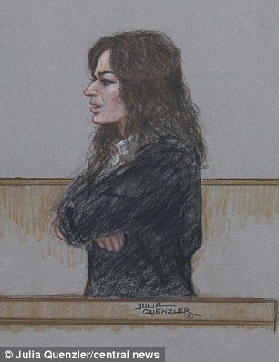 Admission: Miss Lawson, seen in the witness stand in this court illustration, this afternoon admitted taking cocaine as she gave evidence to the jury