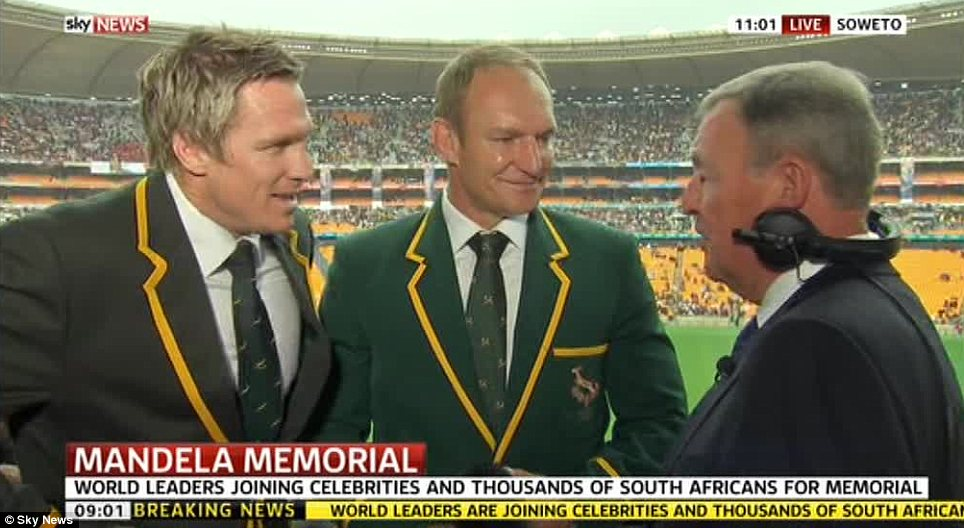 Springboks: South Africa's rugby captain Jean de Villiers and his predecessor Francois Pienaar were among the mourners