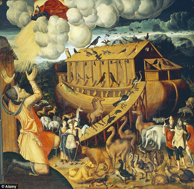 Noah's Ark is typically portrayed at a traditional ship, such as in this Italian mid-16th century painting