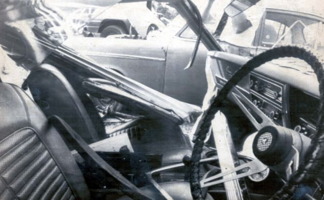 The wreckage of the car in which Biggs's son Nicholas, aged 10, was killed in a two car crash near Melbourne