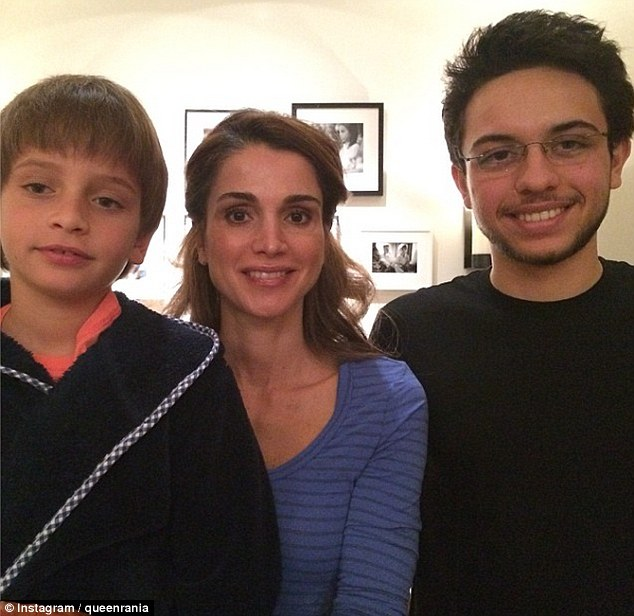 Queen Rania with her sons
