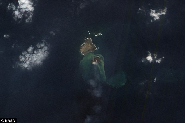 In this NASA satellite image from December 8, Niijima can be clearly seen next to the larger Nishino Shima
