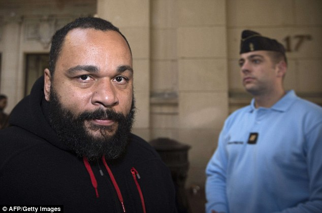 Controversial: French humorist Dieudonne arriving for a trial at the Paris courthouse on December 13