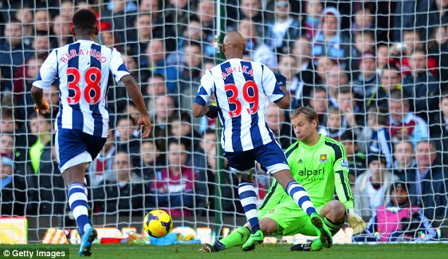 Level best: Anelka scores West Brom's first equaliser, the goal which he celebrated controversially