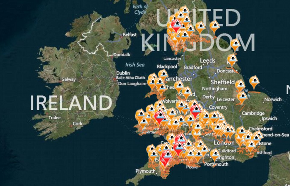 Picture of Britain: Dozens of flood alerts and more serious flood warnings remain in place across the country, with the majority in the west and south-west of the UK