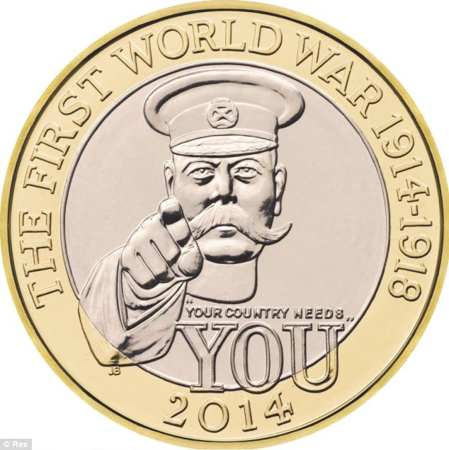 Lord Kitchener appearing on a new £2 coin for 2014