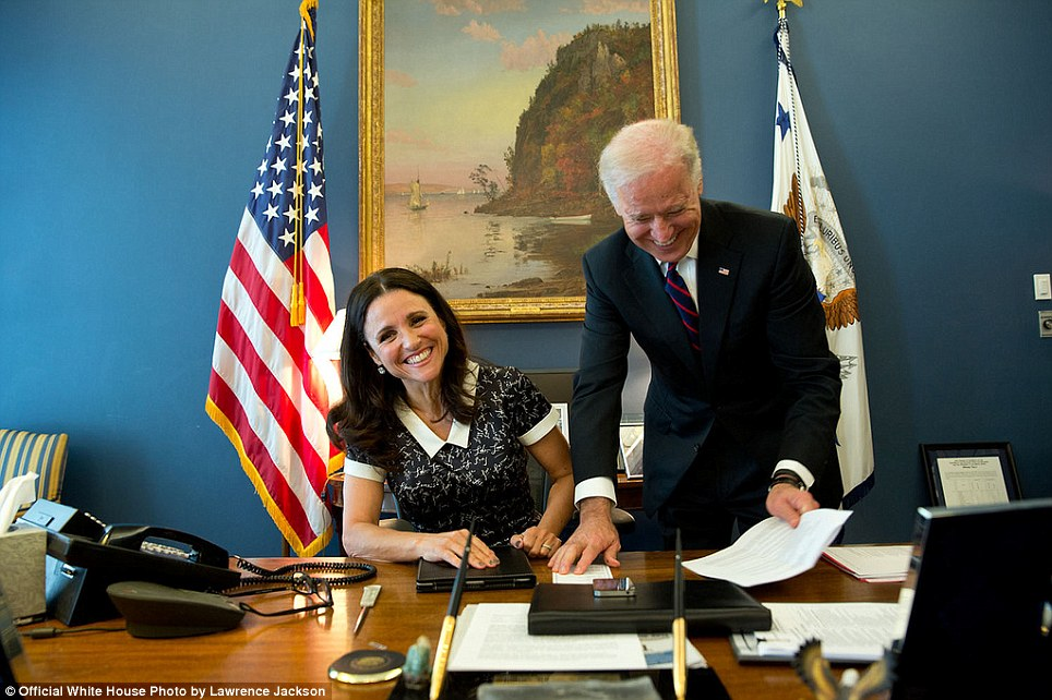 April 12, 2013. Filling in for David Lienemann, Lawrence Jackson made this photograph of the real Vice President, with Julia-Louise Dreyfus, star of the HBO show Veep, in his West Wing office of the White House