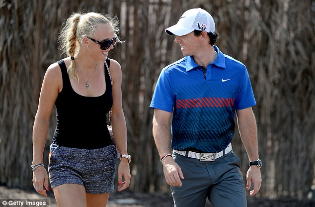 Wozniacki with McIlroy at the DP World Tour Championship in Dubai in November last year