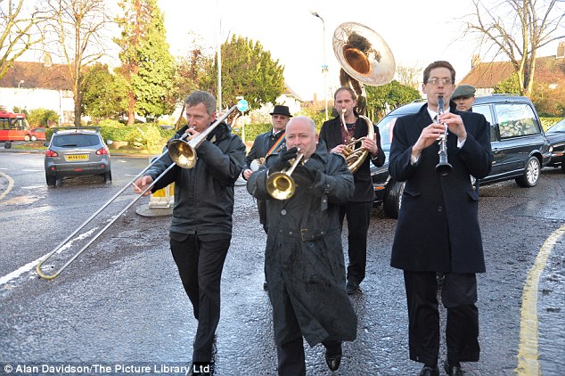 Tribute: A brass band at Biggs' funeral