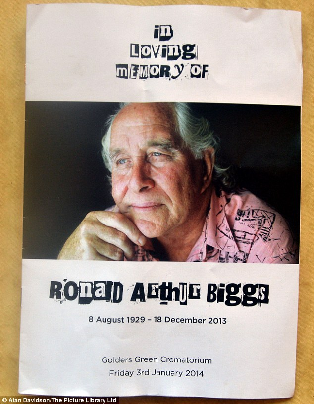 In loving memory: A copy of the order of service for the funeral of Ronnie Biggs