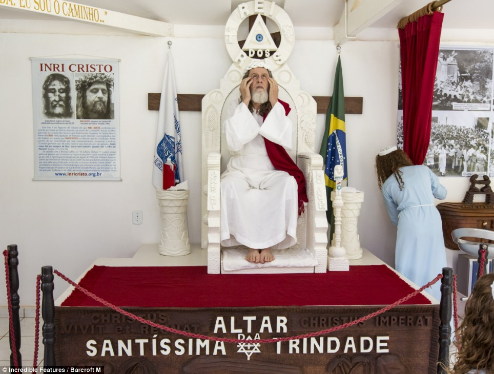 His holy word: Cristo speaks to his followers every Saturday morning from his pulpit at the 'New Jerusalem' compound