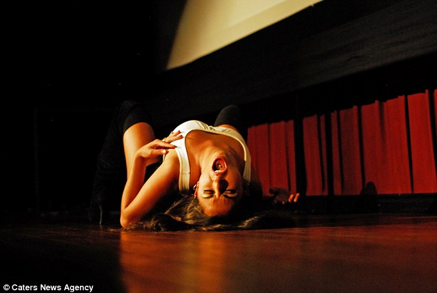 Laid back: A female performer puts on one of the more convincing performances