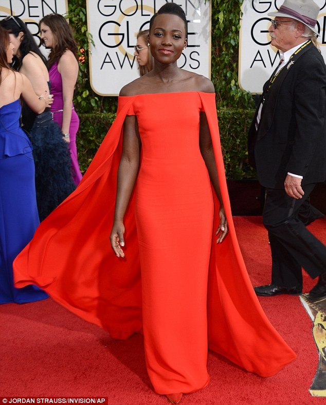Peerless: 12 Years A Slave star Lupita Nyong'o aced her first Golden Globes appearance on Sunday in this stunning Ralph Lauren creation