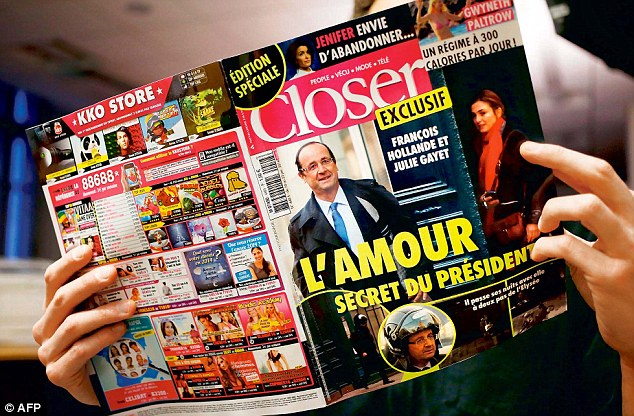 Closer claims Hollande was having an affair with actress Julie Gayet, backing its claim with photographs after months of swirling rumours