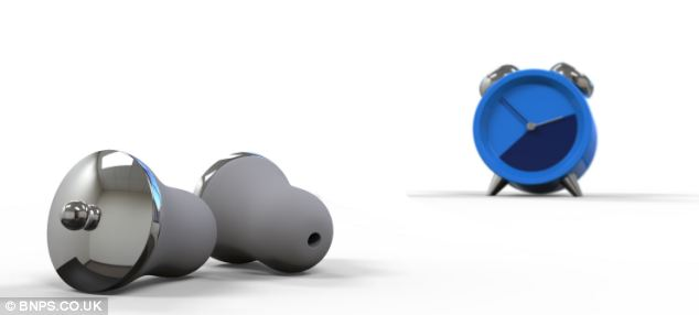 The concept Earlarm device will feature two noise-cancelling foam ear plugs (left), which each have tiny speakers that connect to a bedside clock (right) via Bluetooth