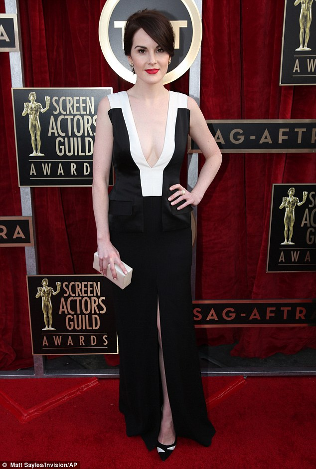 Fabulous frock: Downton Abbey star Michelle Dockery looked stunning as she arrived on the Screen Actors Guild Awards red carpet in a monochrome dress on Saturday night