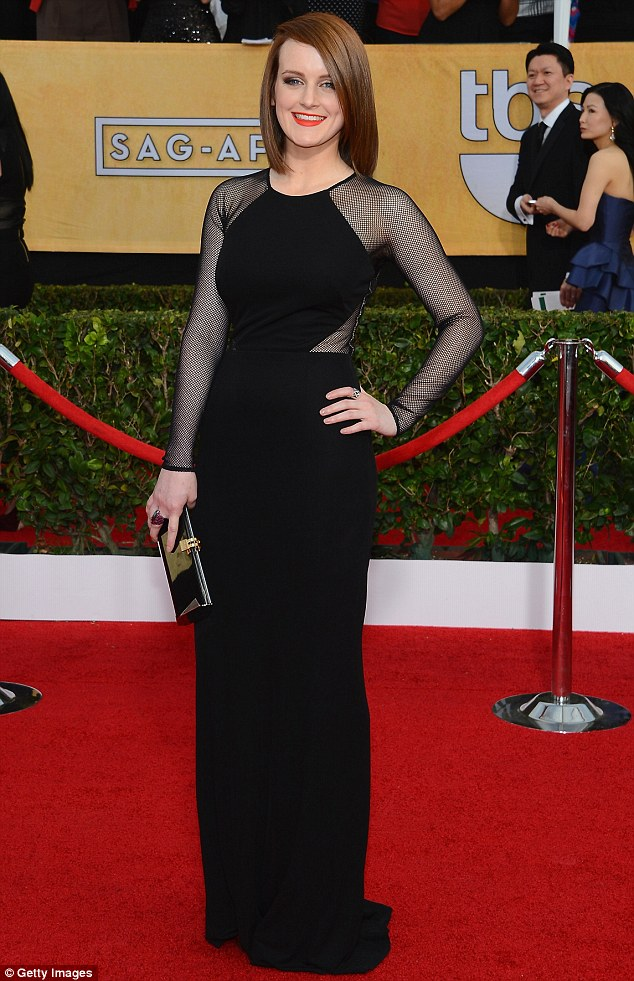 Little Black Dress: The Downton Actress looked stunning in a black full-length gown on the red carpet