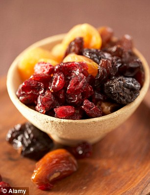 Avoid dried fruit, especially dates, cranberries, raisins  and prunes