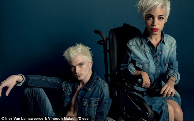 Cover girl: Jillian Mercado (right), a 26-year-old fashion editor, stars in Diesel's new spring campaign