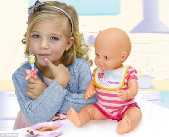 The toy company, Famosa, says the toy just represents play in real life as babies often reject their food