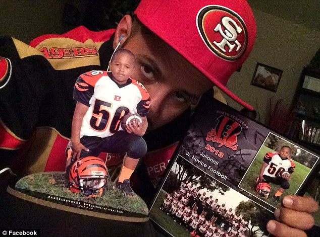 Promising athlete: The 8-year-old was a member of the North Stockton Bengals youth football league, which he joined only last year