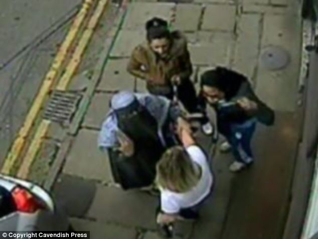 This dramatic picture shows CCTV footage of (clockwise from left) Atfah Ditta, Nighat Morris, Ghazala Ditta attacking their victim shop manager Sarah Harrison after they found out about her relationship with their sister