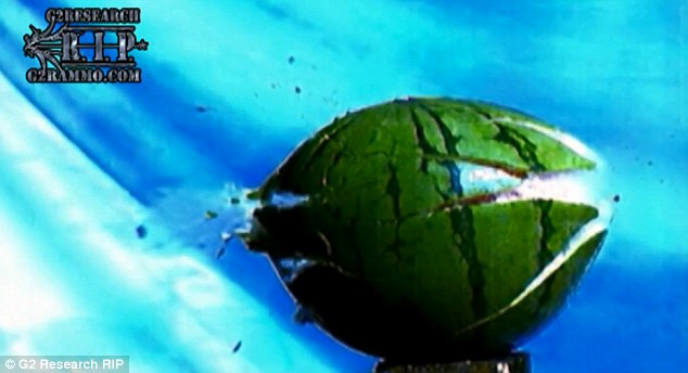 Shattered: This split second frame highlights what happens to a water melon as the R.I.P bullet enters its rind