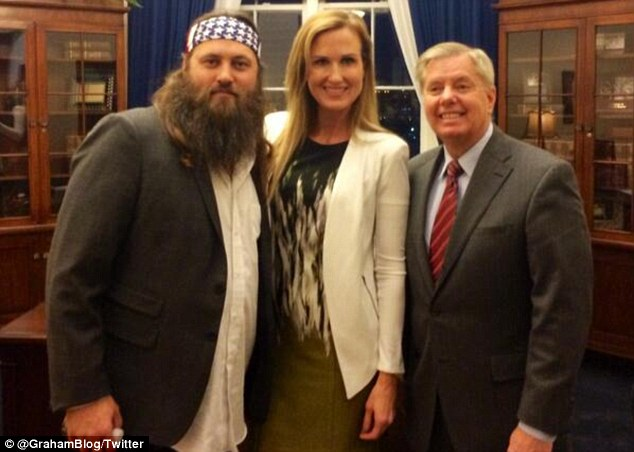 Guests: South Carolina Senator Lindsey Graham tweeted this picture of Willie Robertson and his wife Korie Robertson saying he was proud to provide his guest ticket to the Duck Dynasty star's wife
