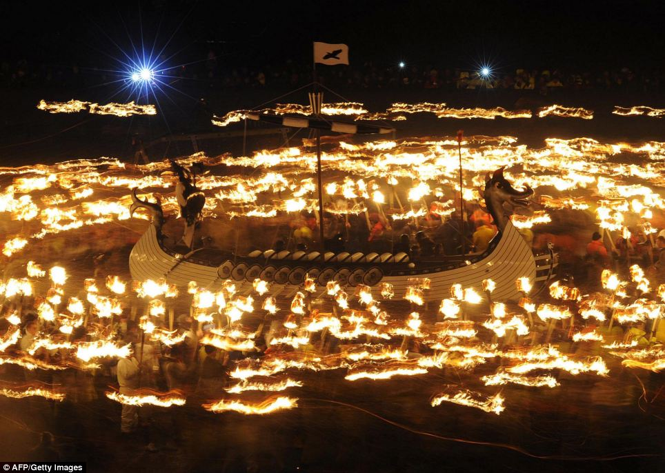 Shetland was illuminated in a blaze of glory as hundreds celebrated the annual Up Helly Aa fire festival