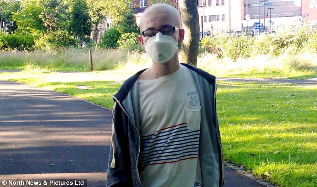 Bryant contracted the virus because he had to have chemotherapy which lowered his immune system. He had the treatment after suffering bone marrow failure. He is pictured when his immune system was weakened