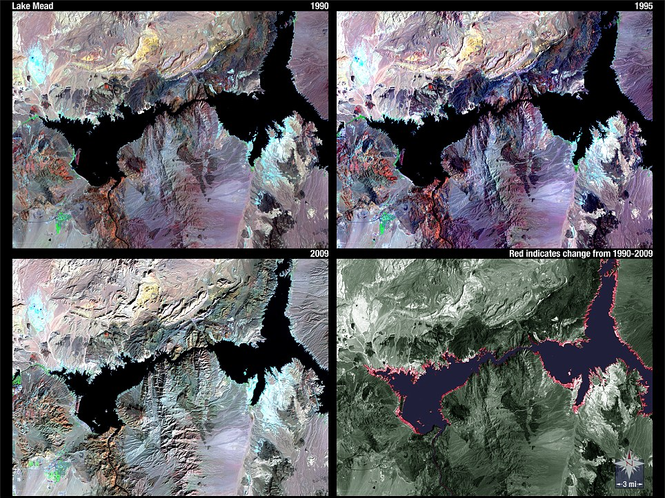Tracked: The red outline in the bottom right image shows how Lake Mead has shrunk from 1990, top left, to 2009, bottom left