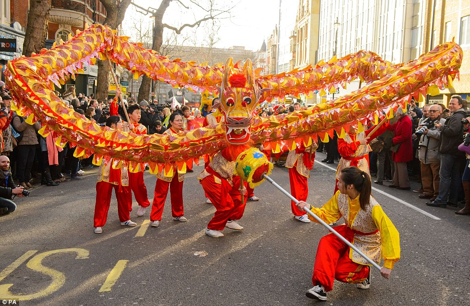 Dragon in London: A Chinese dragon leads the annual parade through central London