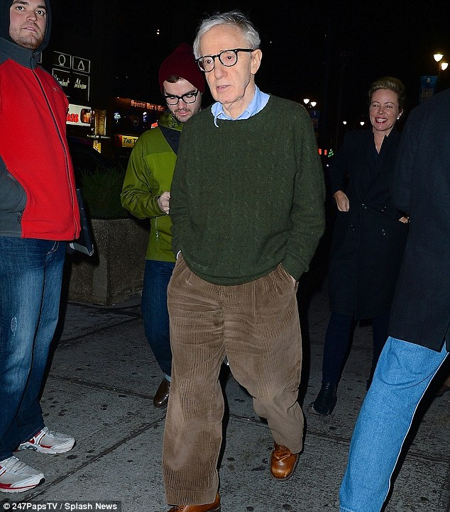 Looking glum: Woody Allen looked somber as he was spotted arriving to the Knicks game Saturday Night