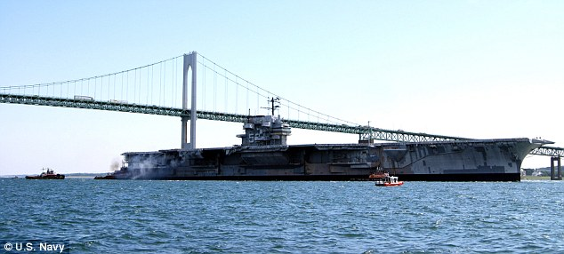 The decommissioned aircraft carrier Ex-USS Forrestal, pictured in 2010, is now on its final voyage to the scrap heap in Texas