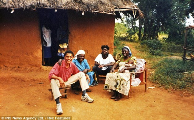 Lost touch: Before their reunion in 2008, President Obama and his half-brother had met only once before - on his 1988 trip to Kenya. Above, the future president poses with family members on that trip