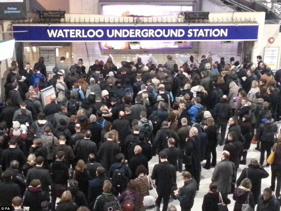 Disruption: Hundreds queue outside Waterloo Underground Station before 7am this morning when a limited tube service was due to get started